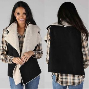 Sherpa Vest Sweater with Vegan Suede NWT